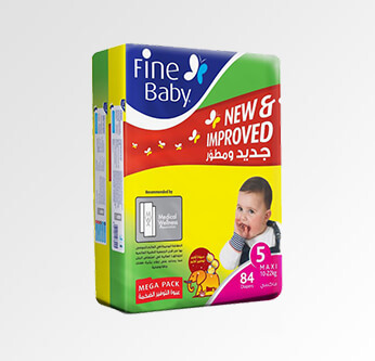 Fine Baby Diapers Size (5) 84 Pcs.