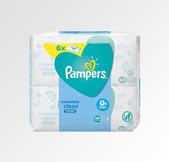 6 Pampers Baby Wipes 64 Pcs.