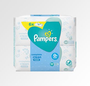 6 Pampers Baby Sensitive Skin Wipes 56 Pcs.
